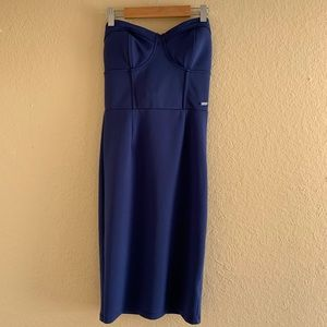 GUESS Blue Strapless Fitted Bodycon Dress